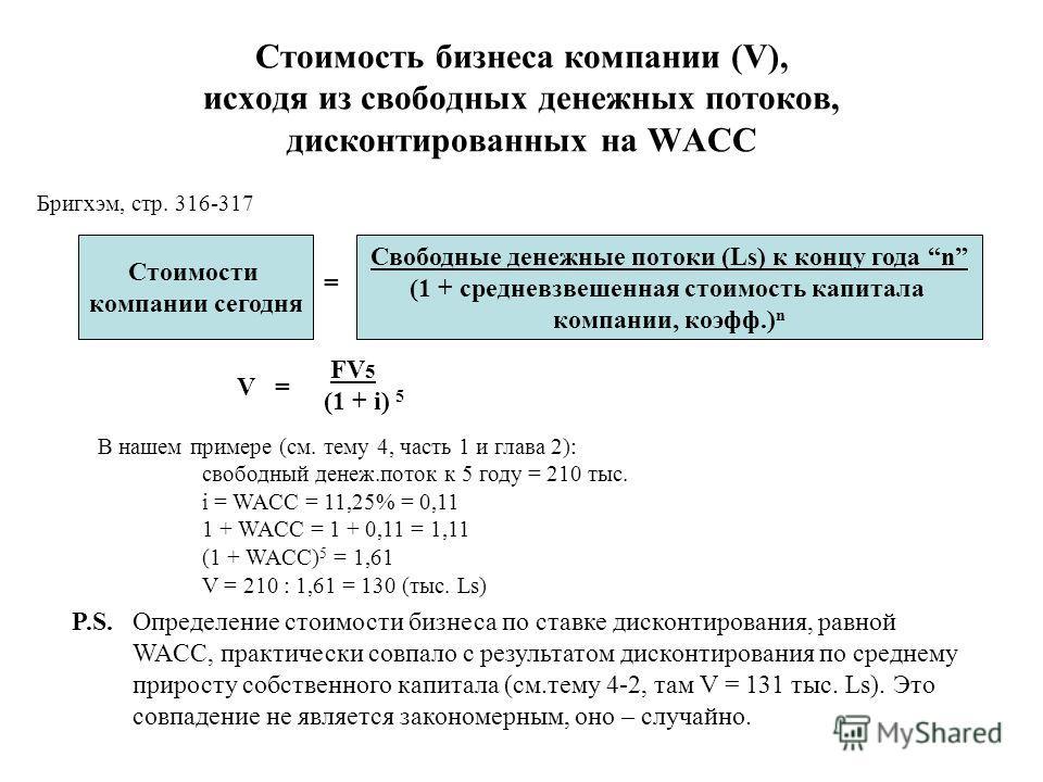 Стоимость бизнеса компании (V), исходя из свободных денежных потоков, дисконтированных на WACC Стоимости компании сегодня = Свободные денежные потоки (Ls) к концу года n (1 + средневзвешенная стоимость капитала компании, коэфф.) n V = FV 5 (1 + i) 5