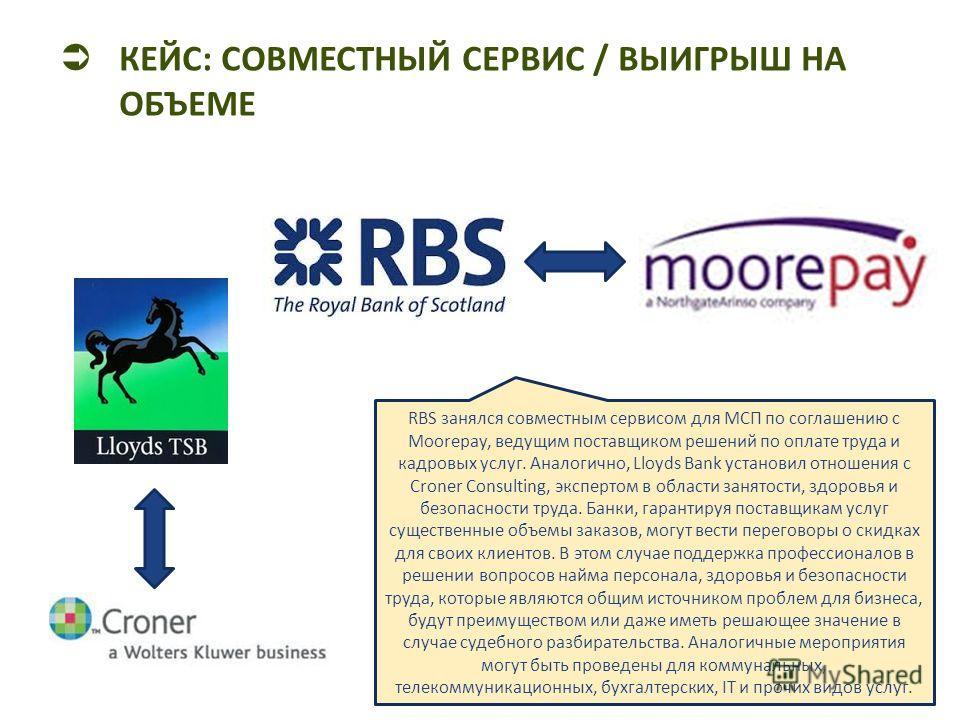 КЕЙС: СОВМЕСТНЫЙ СЕРВИС / ВЫИГРЫШ НА ОБЪЕМЕ RBS занялся совместным сервисом для МСП по соглашению с Moorepay, ведущим поставщиком решений по оплате труда и кадровых услуг. Аналогично, Lloyds Bank установил отношения с Croner Consulting, экспертом в о