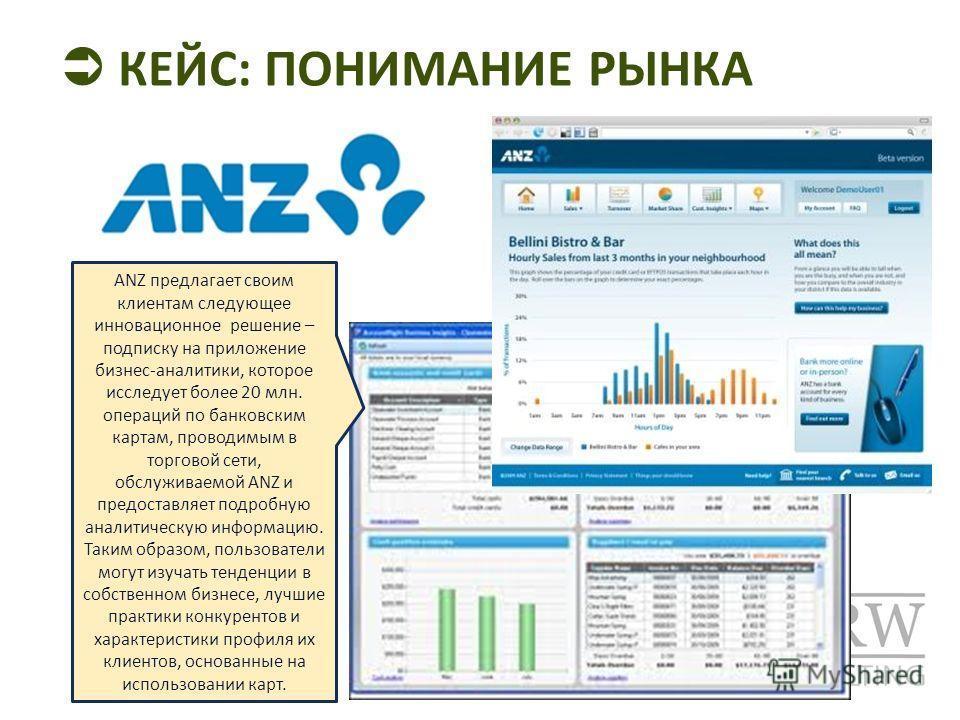 КЕЙС: ПОНИМАНИЕ РЫНКА ANZ предлагает своим клиентам следующее инновационное решение – подписку на приложение бизнес-аналитики, которое исследует более 20 млн. операций по банковским картам, проводимым в торговой сети, обслуживаемой ANZ и предоставляе