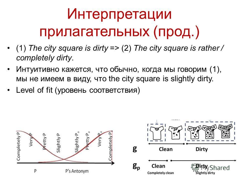 Интерпретации прилагательных (прод.) (1) The city square is dirty => (2) The city square is rather / completely dirty. Интуитивно кажется, что обычно, когда мы говорим (1), мы не имеем в виду, что the city square is slightly dirty. Level of fit (уров