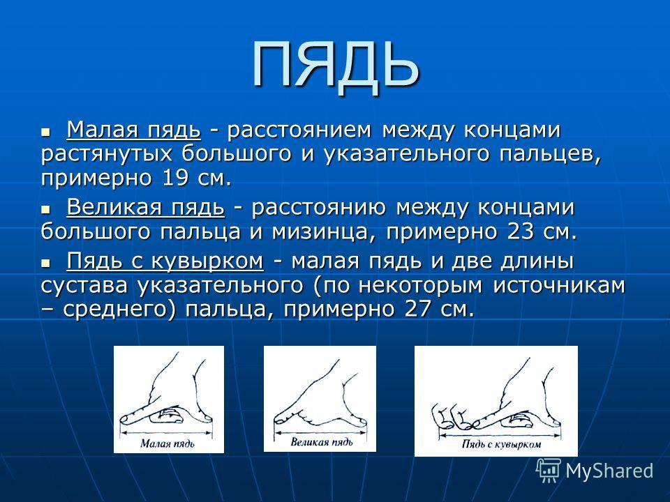 ПЯДЬ Малая пядь - расстоянием между концами растянутых большого и указательного пальцев, примерно 19 см. Малая пядь - расстоянием между концами растянутых большого и указательного пальцев, примерно 19 см. Великая пядь - расстоянию между концами больш