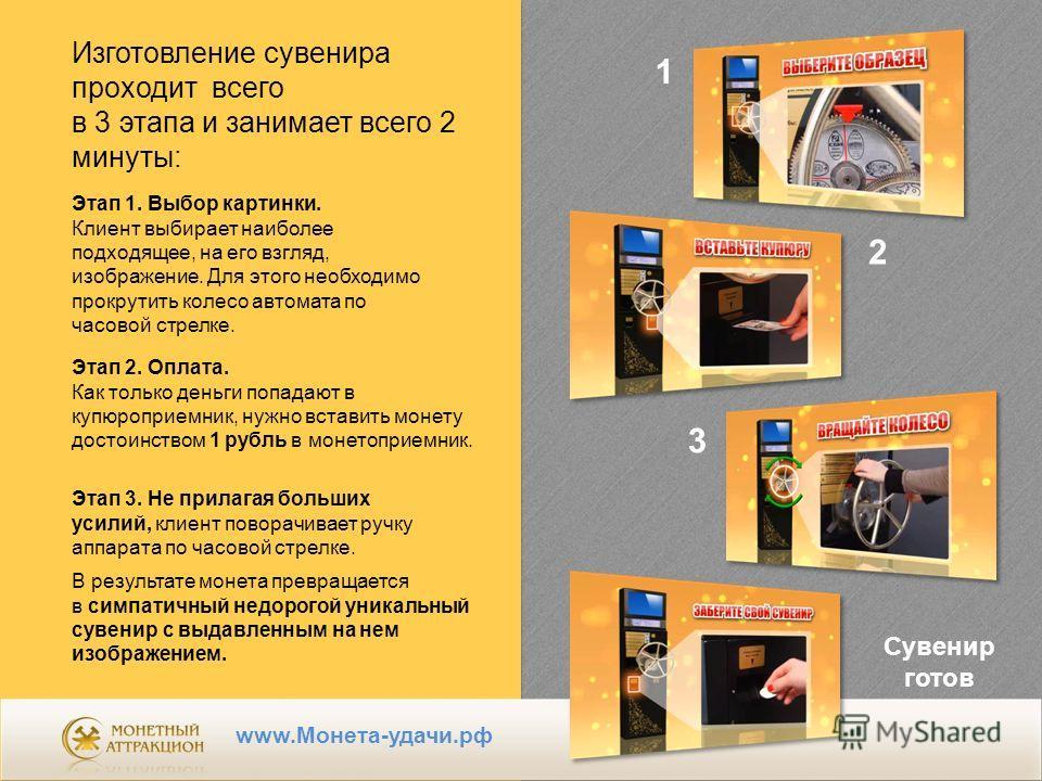 Изготовление сувенира проходит всего в 3 этапа и занимает всего 2 минуты: Этап 1. Выбор картинки. Клиент выбирает наиболее подходящее, на его взгляд, изображение. Для этого необходимо прокрутить колесо автомата по часовой стрелке. Этап 2. Оплата. Как