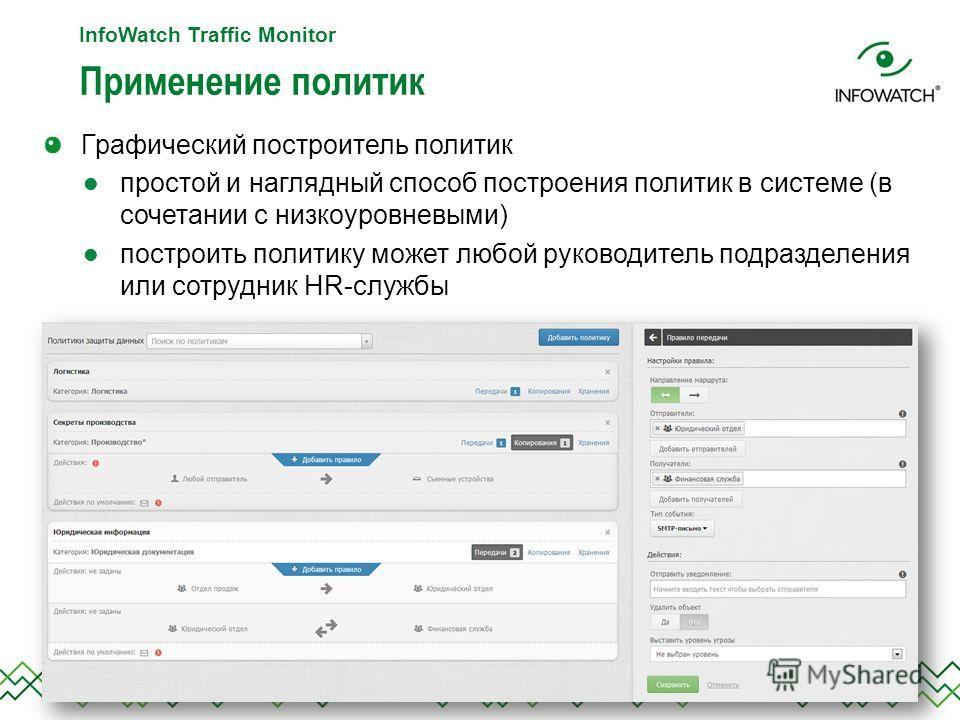 Применение политик InfoWatch Traffic Monitor Графический построитель политик простой и наглядный способ построения политик в системе (в сочетании с низкоуровневыми) построить политику может любой руководитель подразделения или сотрудник HR-службы