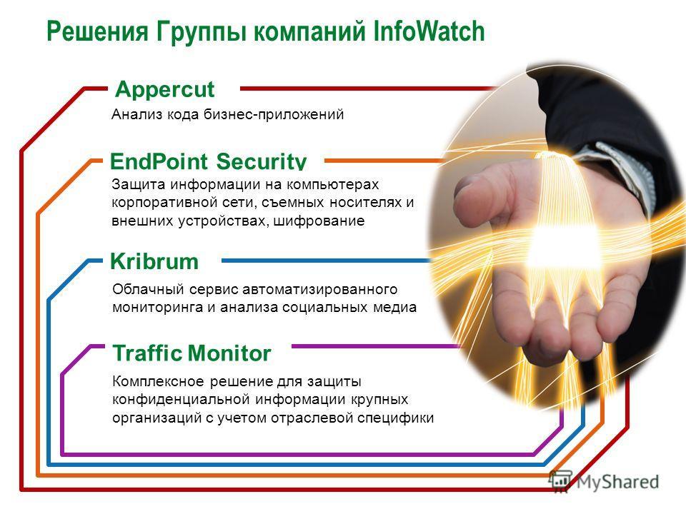 Решения Группы компаний InfoWatch Комплексное решение для защиты конфиденциальной информации крупных организаций с учетом отраслевой специфики Облачный сервис автоматизированного мониторинга и анализа социальных медиа Traffic Monitor Kribrum EndPoint