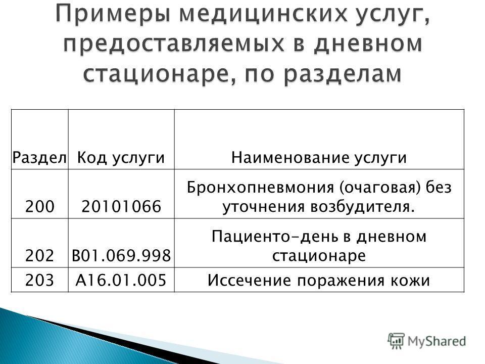 РазделКод услугиНаименование услуги 20020101066 Бронхопневмония (очаговая) без уточнения возбудителя. 202B01.069.998 Пациенто-день в дневном стационаре 203A16.01.005Иссечение поражения кожи
