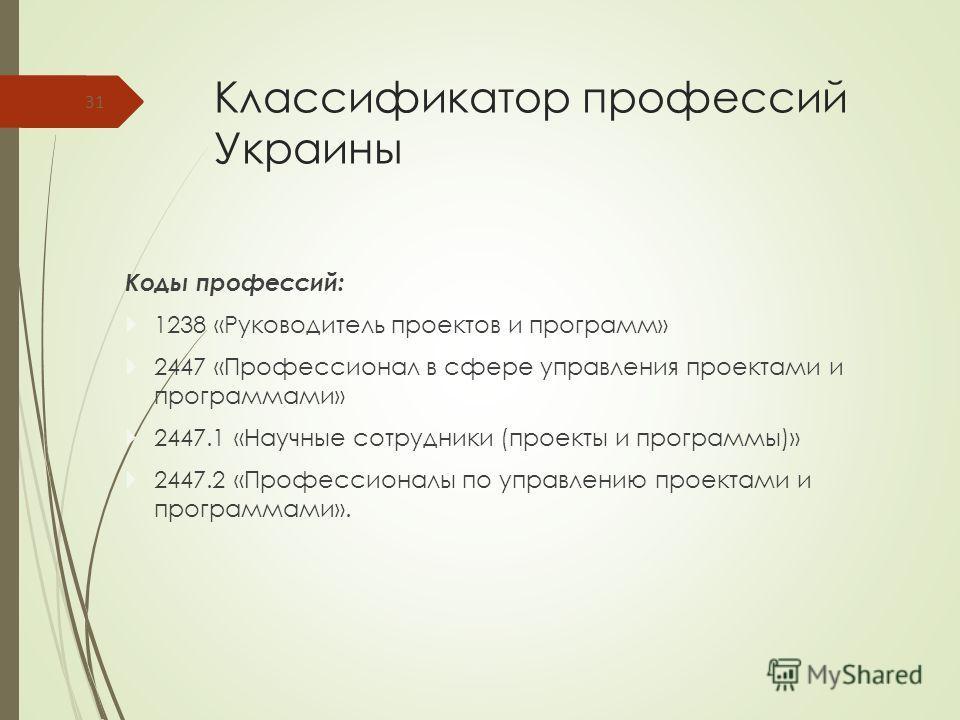 Классификатор профессий Украины Коды профессий: 1238 «Руководитель проектов и программ» 2447 «Профессионал в сфере управления проектами и программами» 2447.1 «Научные сотрудники (проекты и программы)» 2447.2 «Профессионалы по управлению проектами и п