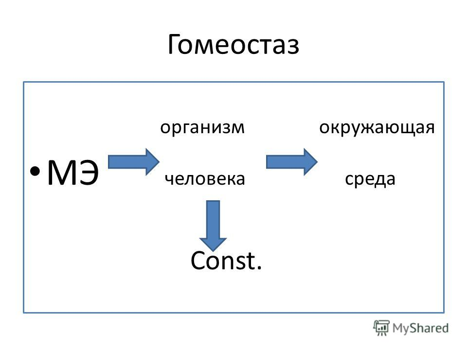 Гомеостаз организм окружающая МЭ человека среда Соnst.