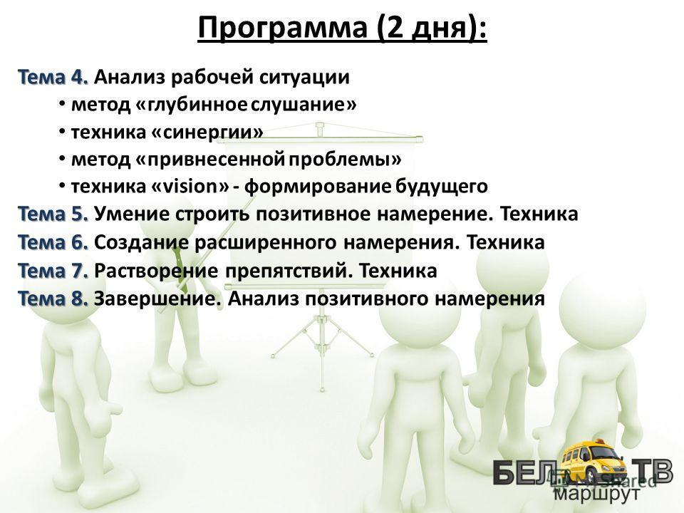 Тема 4. Тема 4. Анализ рабочей ситуации метод «глубинное слушание» техника «синергии» метод «привнесенной проблемы» техника «vision» - формирование будущего Тема 5. Тема 5. Умение строить позитивное намерение. Техника Тема 6. Тема 6. Создание расшире