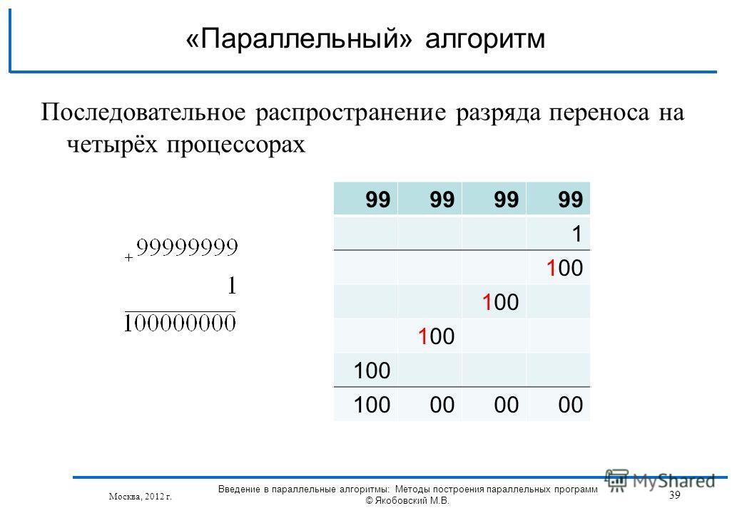 Последовательное распространение разряда переноса на четырёх процессорах 99 1 100 00 «Параллельный» алгоритм Москва, 2012 г. 39 Введение в параллельные алгоритмы: Методы построения параллельных программ © Якобовский М.В.