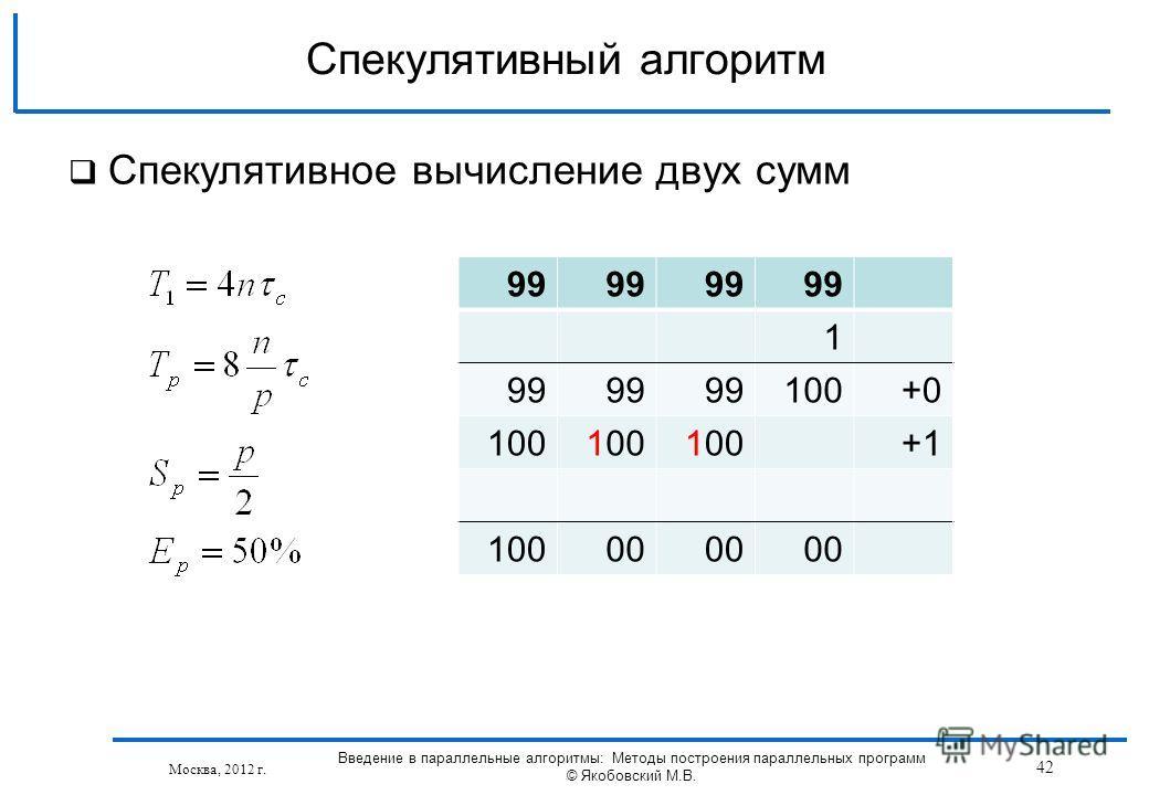 Спекулятивное вычисление двух сумм Спекулятивный алгоритм Москва, 2012 г. 99 1 100+0 100 +1 10000 42 Введение в параллельные алгоритмы: Методы построения параллельных программ © Якобовский М.В.