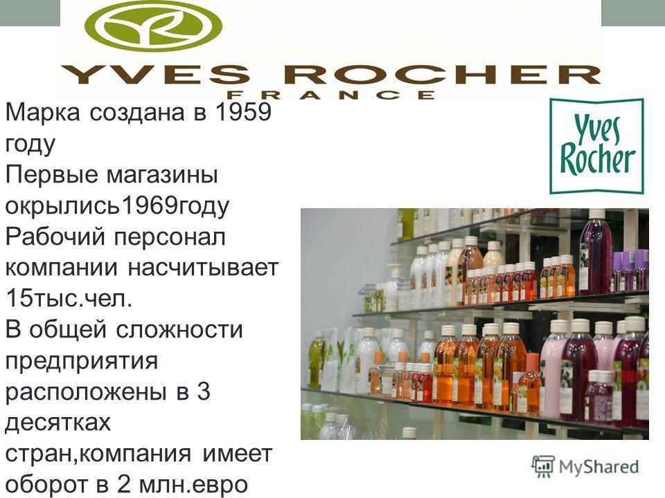 Марка создана в 1959 году Первые магазины окрылись1969году Рабочий персонал компании насчитывает 15тыс.чел. В общей сложности предприятия расположены в 3 десятках стран,компания имеет оборот в 2 млн.евро
