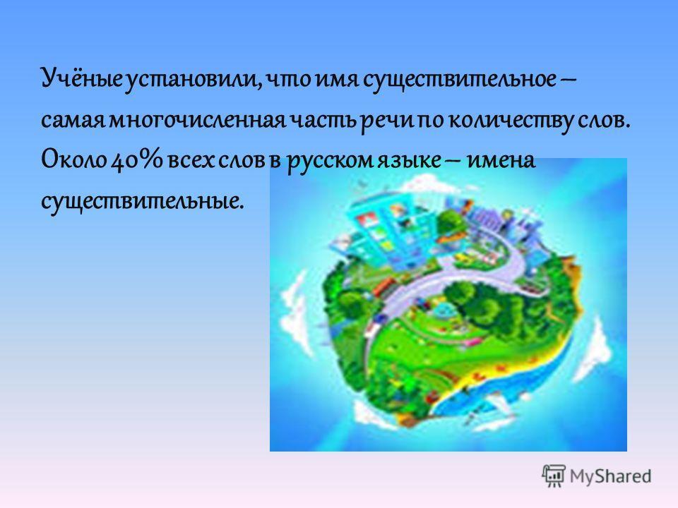 Учёные установили, что имя существительное – самая многочисленная часть речи по количеству слов. Около 40% всех слов в русском языке – имена существительные.