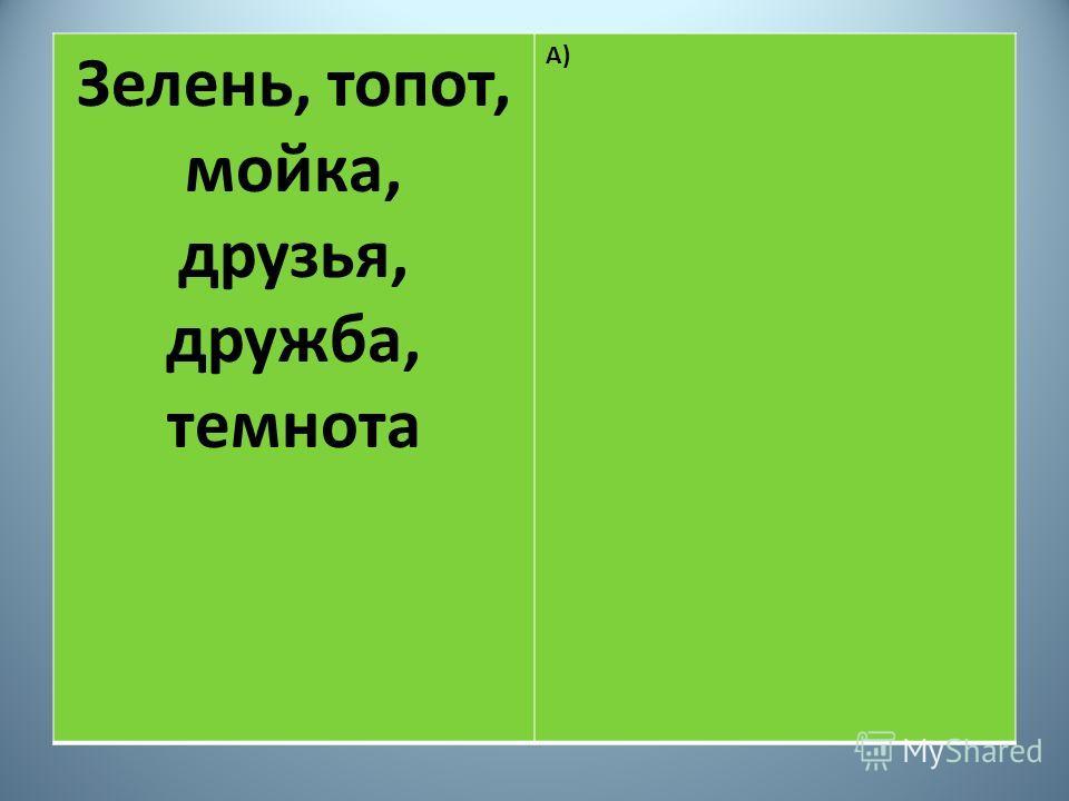 Зелень, топот, мойка, друзья, дружба, темнота А)