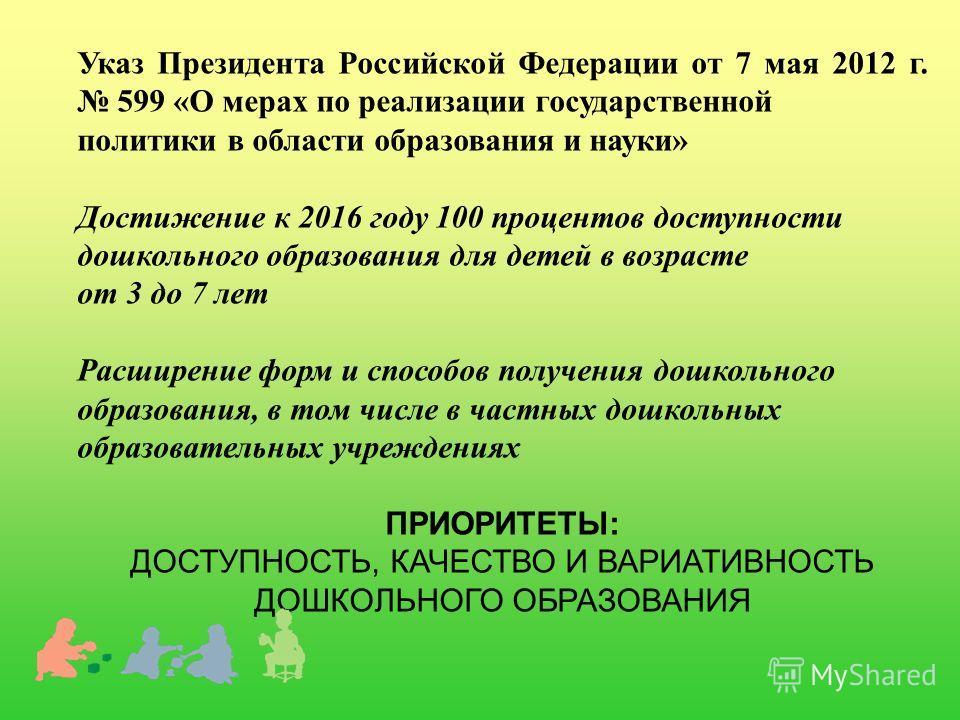 Указ Президента Российской Федерации от 7 мая 2012 г. 599 «О мерах по реализации государственной политики в области образования и науки» Достижение к 2016 году 100 процентов доступности дошкольного образования для детей в возрасте от 3 до 7 лет Расши