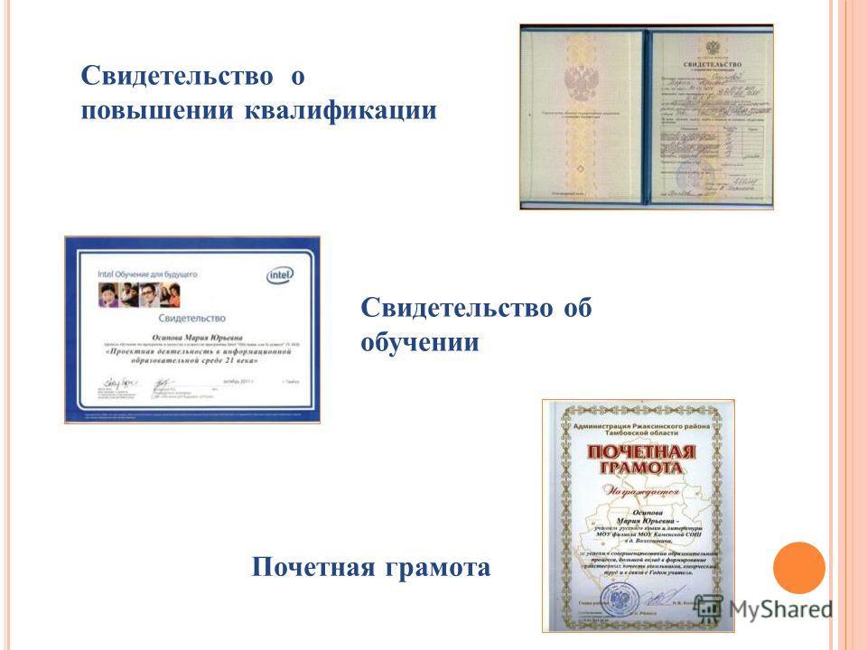 Свидетельство об обучении Почетная грамота Свидетельство о повышении квалификации