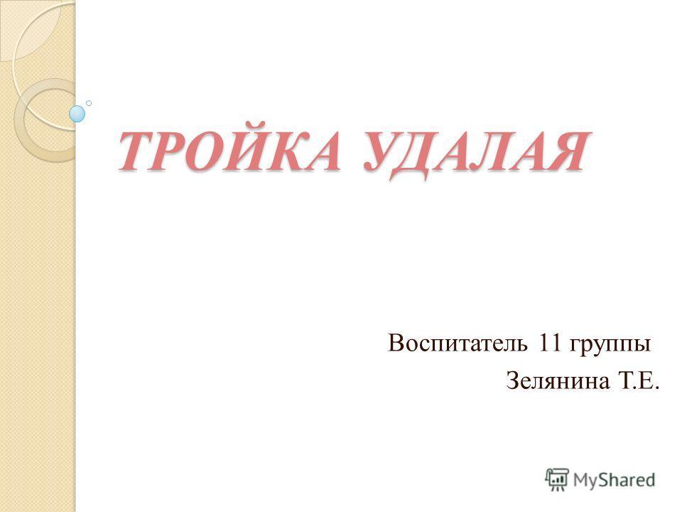 ТРОЙКА УДАЛАЯ Воспитатель 11 группы Зелянина Т.Е.