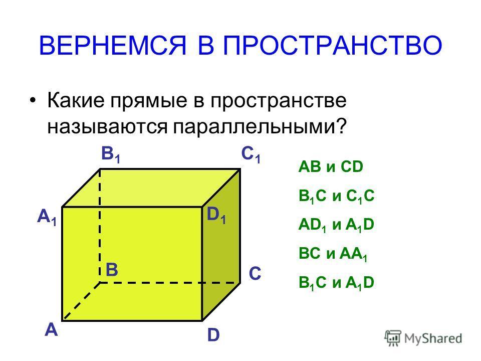 ВЕРНЕМСЯ В ПРОСТРАНСТВО Какие прямые в пространстве называются параллельными? А B C D А1А1 B1B1 C1C1 D1D1 AB и CD B 1 C и C 1 C AD 1 и A 1 D BC и AA 1 B 1 C и A 1 D