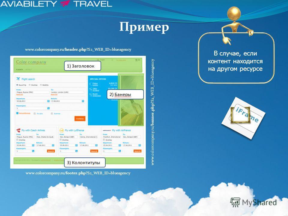 Пример www.colorcompany.ru/footer.php?S2_WEB_ID=blueagency www.colorcompany.ru/header.php?S2_WEB_ID=blueagency www.colorcompany.ru/banner.php?S2_WEB_ID=blueagency В случае, если контент находится на другом ресурсе