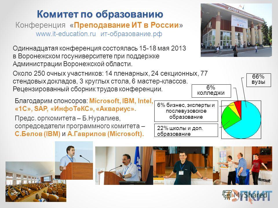 Комитет по образованию Одиннадцатая конференция состоялась 15-18 мая 2013 в Воронежском госуниверситете при поддержке Администрации Воронежской области. Около 250 очных участников: 14 пленарных, 24 секционных, 77 стендовых докладов, 3 круглых стола,