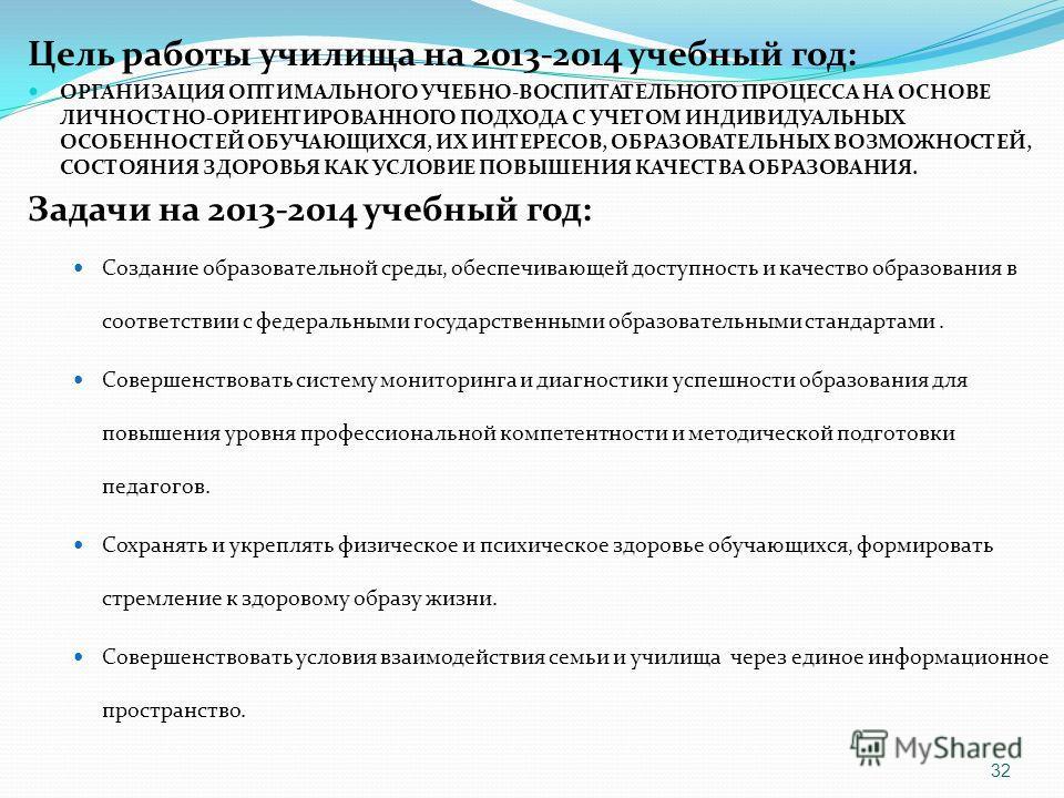 Цель работы училища на 2013-2014 учебный год: ОРГАНИЗАЦИЯ ОПТИМАЛЬНОГО УЧЕБНО-ВОСПИТАТЕЛЬНОГО ПРОЦЕССА НА ОСНОВЕ ЛИЧНОСТНО-ОРИЕНТИРОВАННОГО ПОДХОДА С УЧЕТОМ ИНДИВИДУАЛЬНЫХ ОСОБЕННОСТЕЙ ОБУЧАЮЩИХСЯ, ИХ ИНТЕРЕСОВ, ОБРАЗОВАТЕЛЬНЫХ ВОЗМОЖНОСТЕЙ, СОСТОЯНИ
