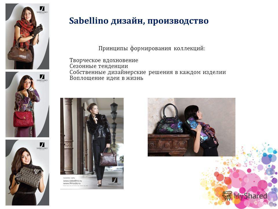 Sabellino дизайн, производство Принципы формирования коллекций: Творческое вдохновение Сезонные тенденции Собственные дизайнерские решения в каждом изделии Воплощение идеи в жизнь