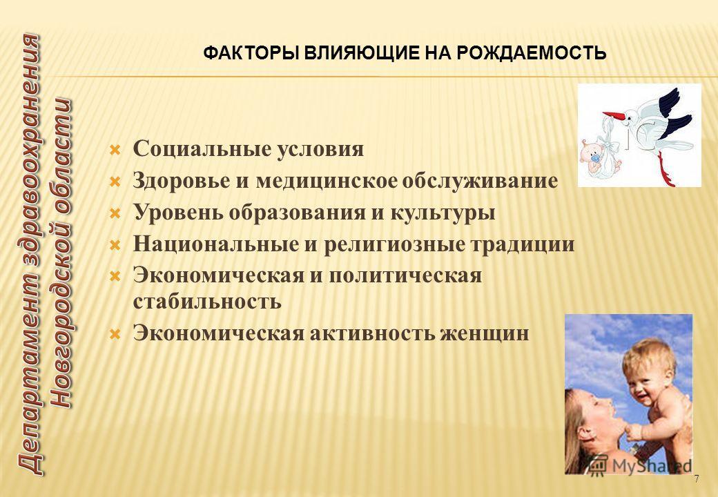 Социальные условия Здоровье и медицинское обслуживание Уровень образования и культуры Национальные и религиозные традиции Экономическая и политическая стабильность Экономическая активность женщин 7