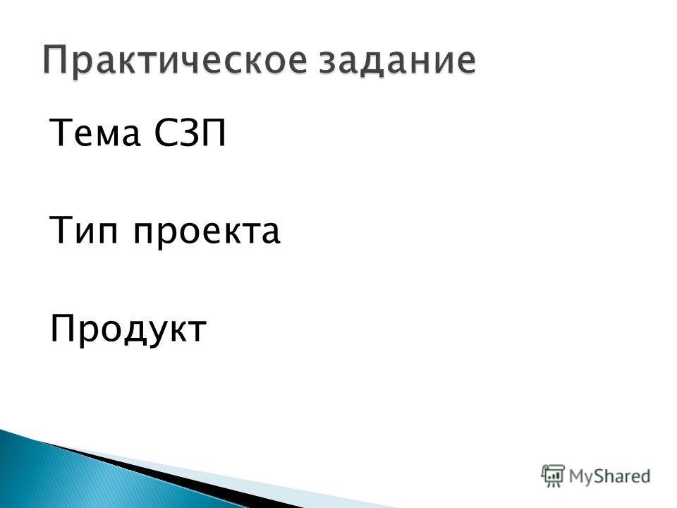 Тема СЗП Тип проекта Продукт