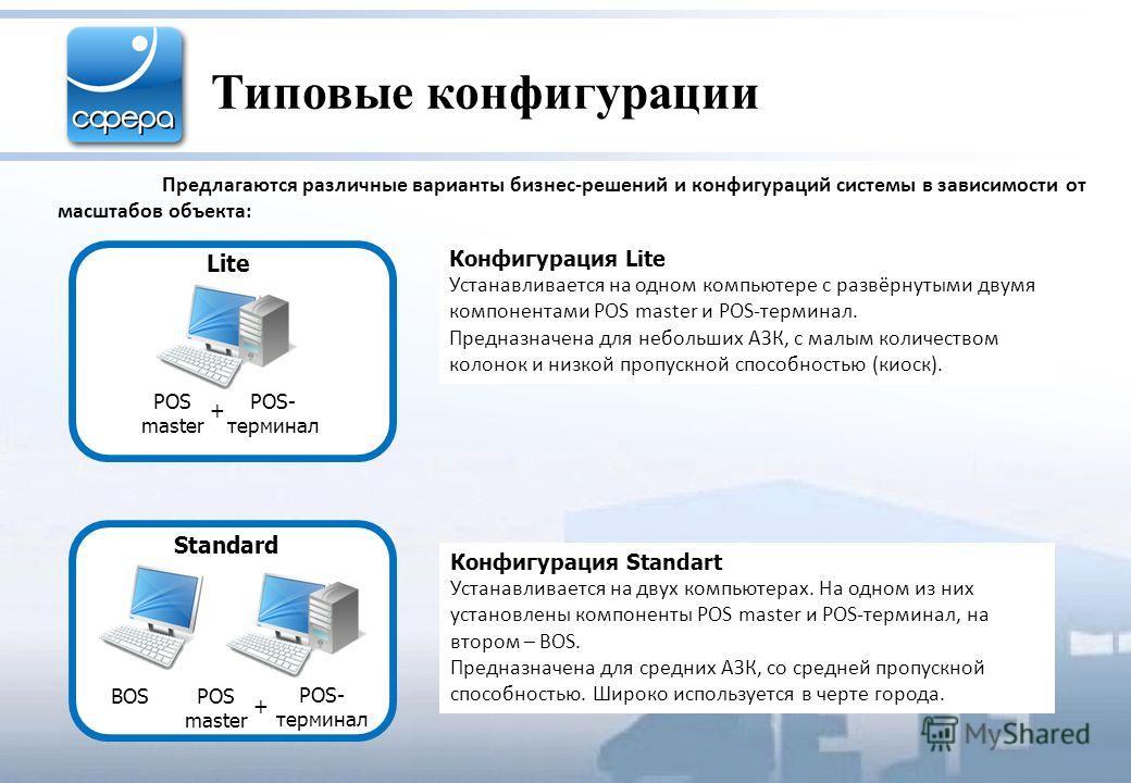 Типовые конфигурации Предлагаются различные варианты бизнес-решений и конфигураций системы в зависимости от масштабов объекта: Конфигурация Lite Устанавливается на одном компьютере с развёрнутыми двумя компонентами POS master и POS-терминал. Предназн
