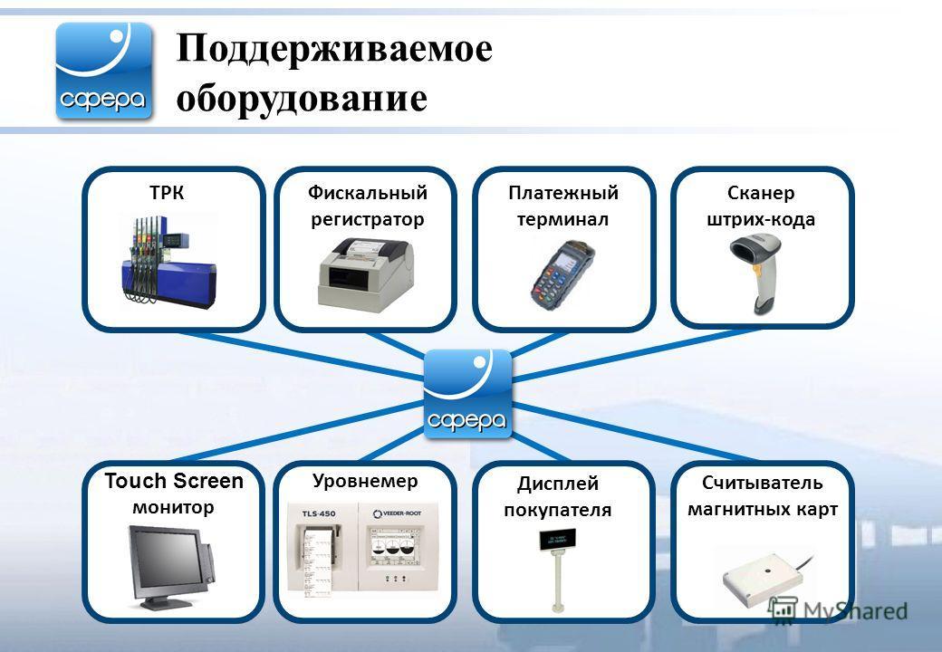 Поддерживаемое оборудование Дисплей покупателя 4,53 Платежный терминал Сканер штрих-кода ТРК Touch Screen монитор Уровнемер Фискальный регистратор Считыватель магнитных карт