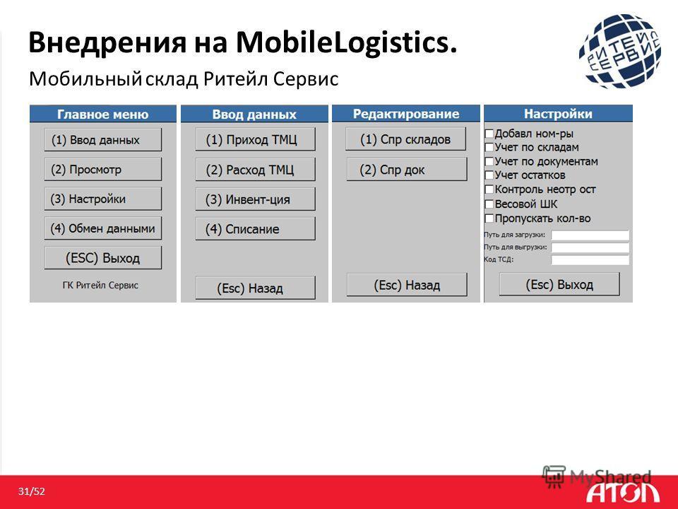 Внедрения на MobileLogistics. Мобильный склад Ритейл Сервис 31/52
