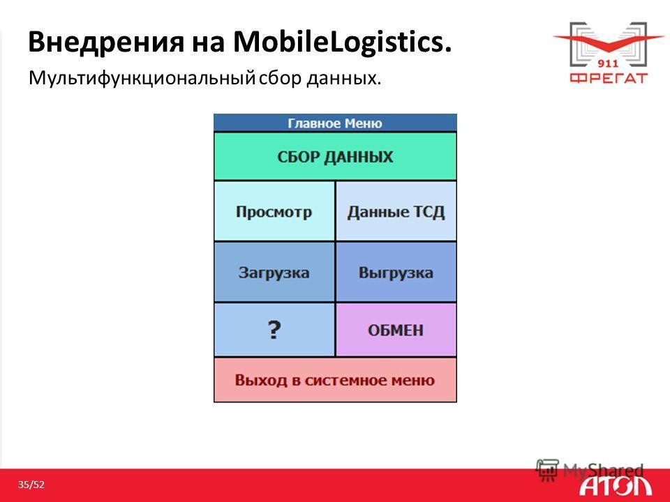 Внедрения на MobileLogistics. Мультифункциональный сбор данных. 35/52