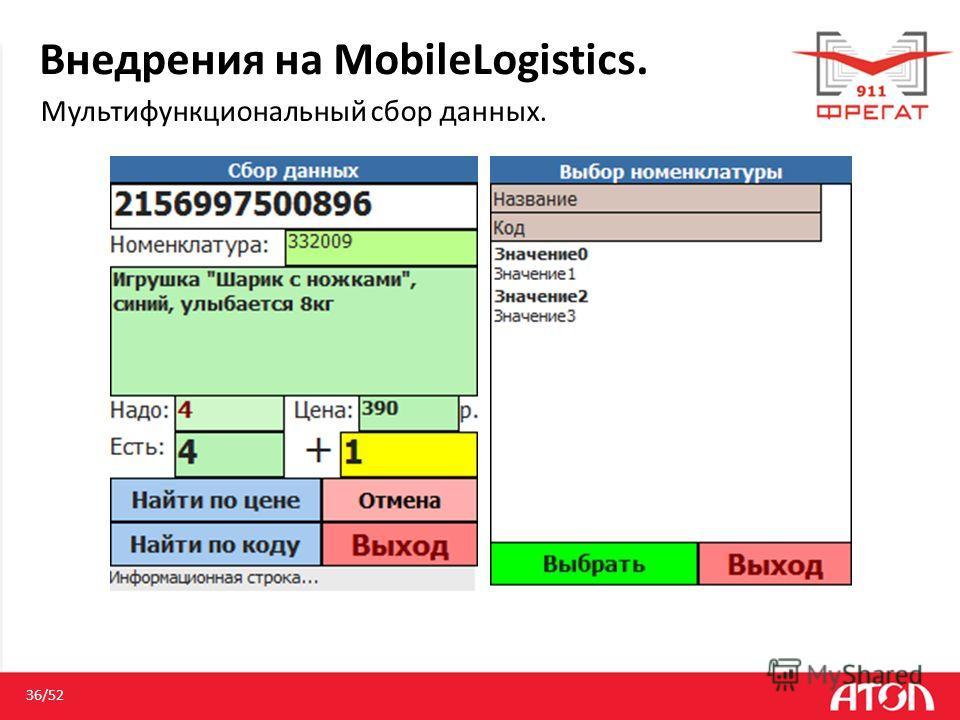 Внедрения на MobileLogistics. Мультифункциональный сбор данных. 36/52