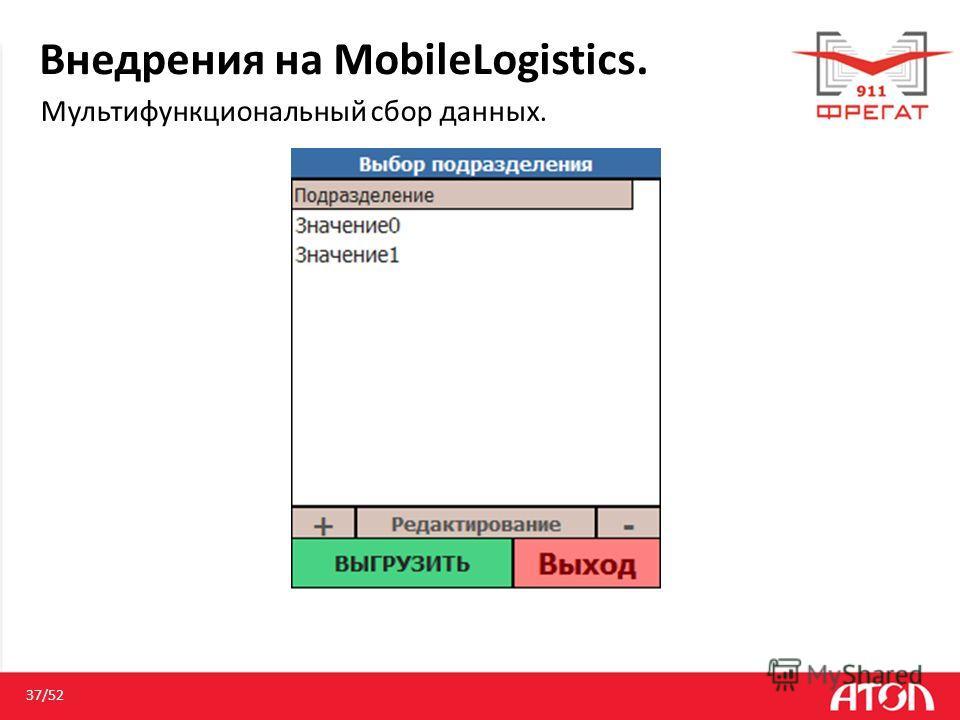 Внедрения на MobileLogistics. Мультифункциональный сбор данных. 37/52