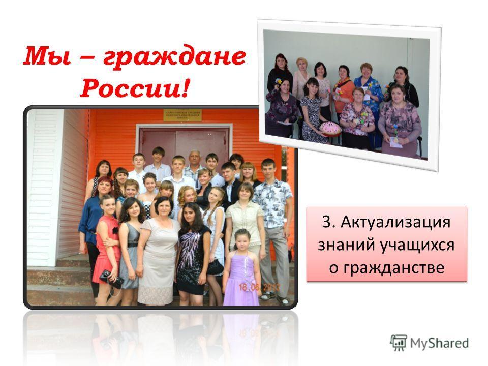 Мы – граждане России! 3. Актуализация знаний учащихся о гражданстве 3. Актуализация знаний учащихся о гражданстве
