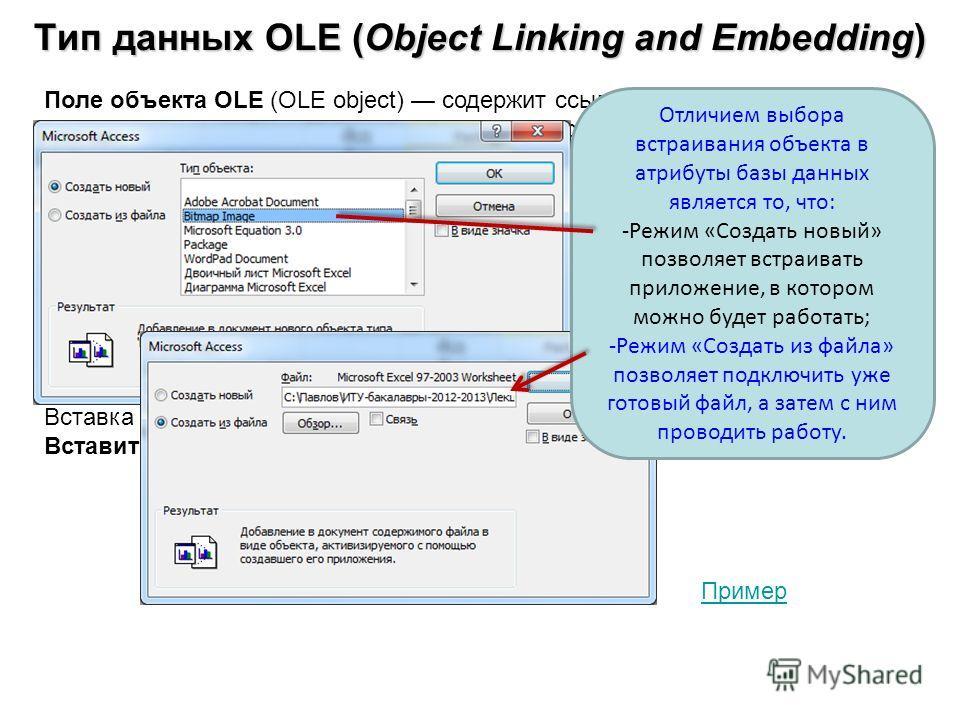 Тип данных OLE (Object Linking and Embedding) Поле объекта OLE (OLE object) содержит ссылку на OLE-объект (лист Microsoft Excel, документ Microsoft Word, звук, рисунок и т. п.). Объем объекта ограничивается имеющимся в наличии дисковым пространством.
