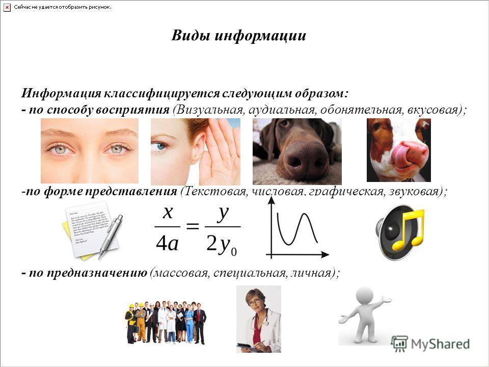 Виды информации Информация классифицируется следующим образом: - по способу восприятия (Визуальная, аудиальная, обонятельная, вкусовая); -по форме представления (Текстовая, числовая, графическая, звуковая); - по предназначению (массовая, специальная,