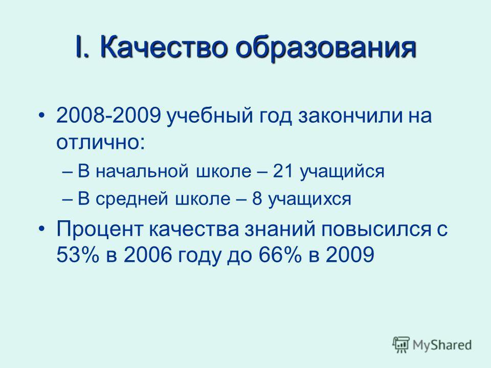 I. Качество образования 2008-2009 учебный год закончили на отлично: –В начальной школе – 21 учащийся –В средней школе – 8 учащихся Процент качества знаний повысился с 53% в 2006 году до 66% в 2009