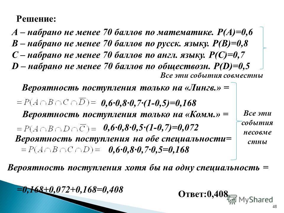 48 Решение: А – набрано не менее 70 баллов по математике. Р(А)=0,6 В – набрано не менее 70 баллов по русск. языку. Р(В)=0,8 С – набрано не менее 70 баллов по англ. языку. Р(С)=0,7 D – набрано не менее 70 баллов по обществозн. Р(D)=0,5 Все эти события