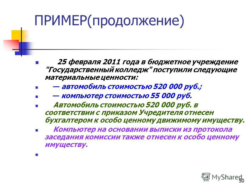 50 ПРИМЕР(продолжение) 25 февраля 2011 года в бюджетное учреждение