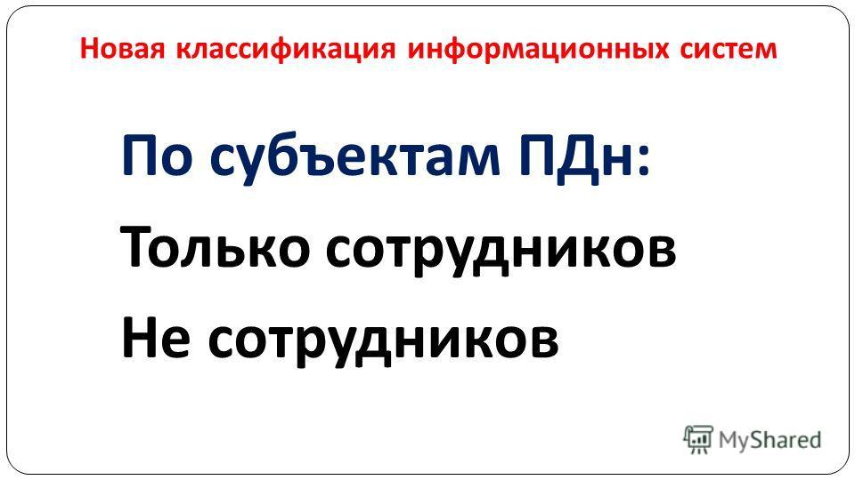 Новая классификация информационных систем По субъектам ПДн: Только сотрудников Не сотрудников