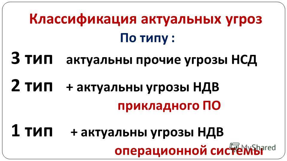 Классификация актуальных угроз По типу : 3 тип актуальны прочие угрозы НСД 2 тип + актуальны угрозы НДВ прикладного ПО 1 тип + актуальны угрозы НДВ операционной системы