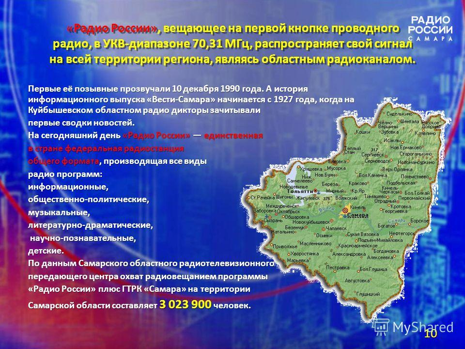 «Радио России», вещающее на первой кнопке проводного радио, в УКВ-диапазоне 70,31 МГц, распространяет свой сигнал на всей территории региона, являясь областным радиоканалом. Первые её позывные прозвучали 10 декабря 1990 года. А история информационног
