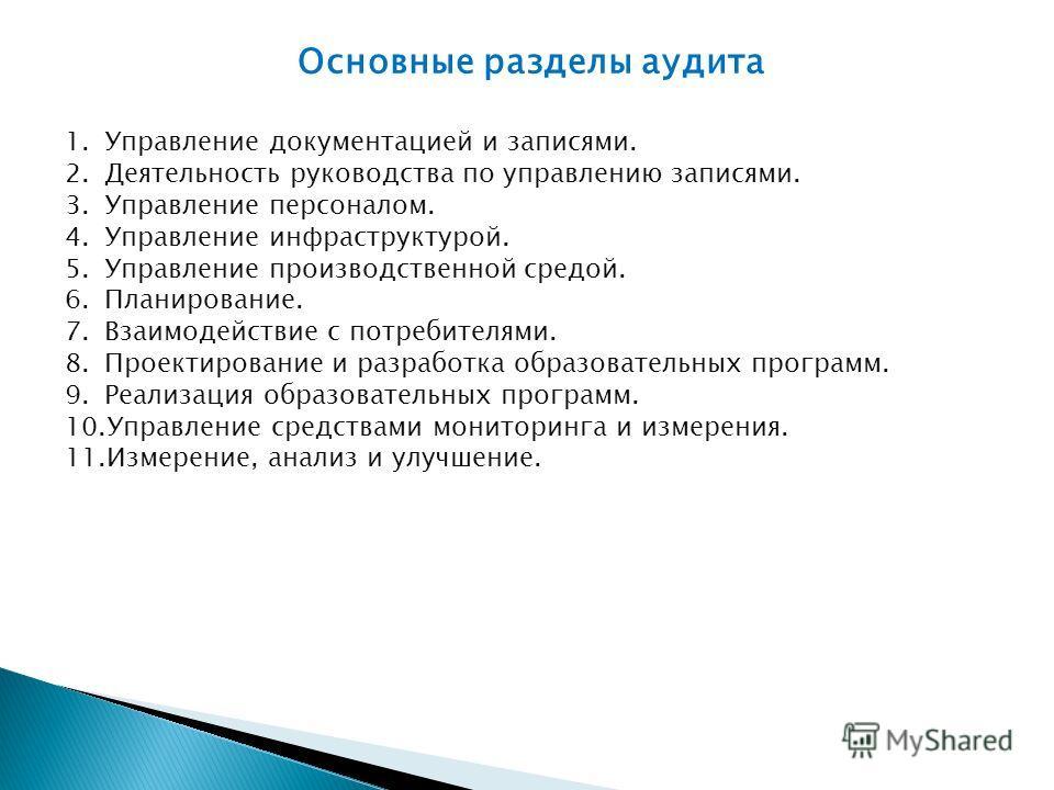 Основные разделы аудита 1.Управление документацией и записями. 2.Деятельность руководства по управлению записями. 3.Управление персоналом. 4.Управление инфраструктурой. 5.Управление производственной средой. 6.Планирование. 7.Взаимодействие с потребит