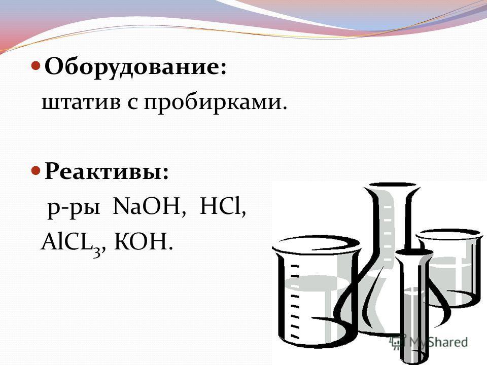 Оборудование: штатив с пробирками. Реактивы: р-ры NaOH, HCl, AlCL 3, КОН.