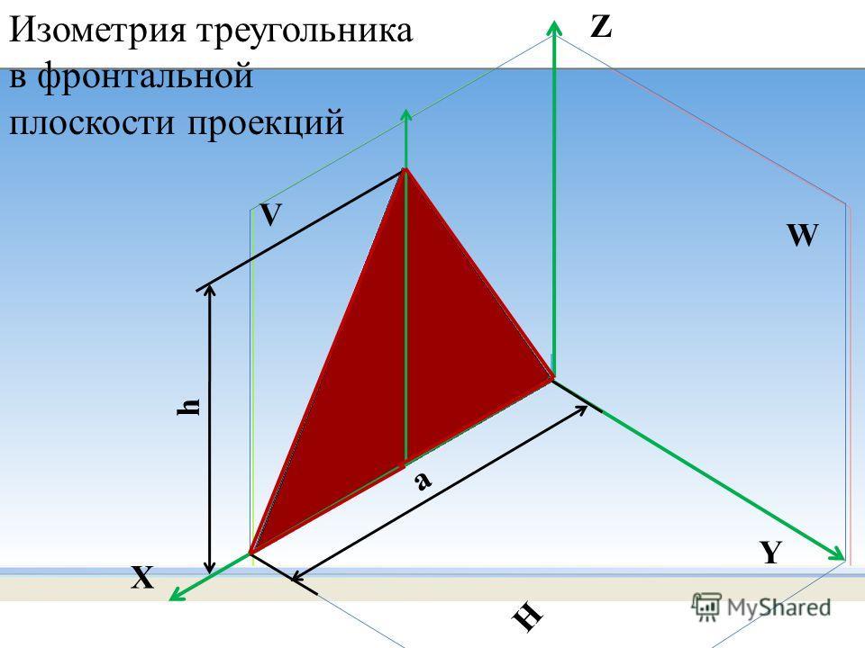 h а W H V Z X Y Изометрия треугольника в фронтальной плоскости проекций