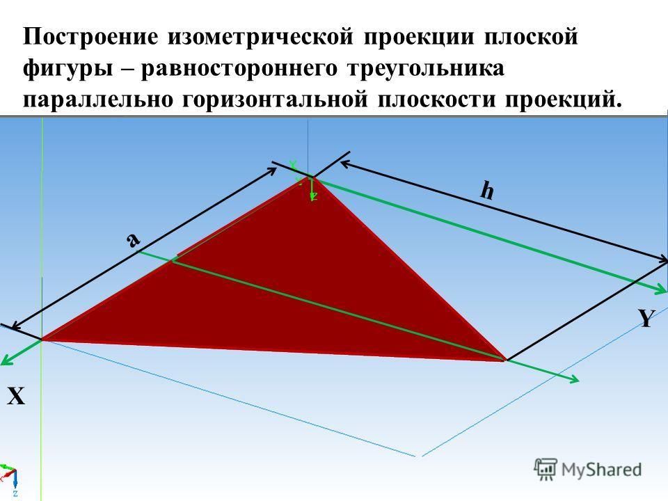 X a Y h Построение изометрической проекции плоской фигуры – равностороннего треугольника параллельно горизонтальной плоскости проекций.