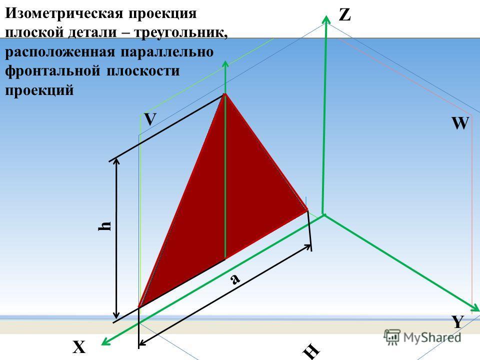 h а W H V Z X Y Изометрическая проекция плоской детали – треугольник, расположенная параллельно фронтальной плоскости проекций