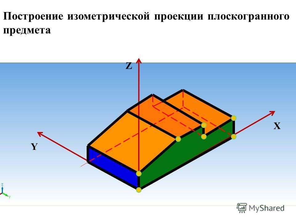 Z X Y Построение изометрической проекции плоскогранного предмета