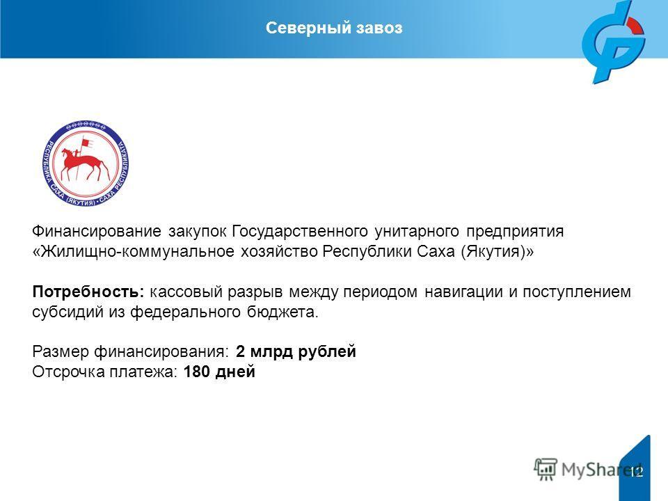 Финансирование закупок Государственного унитарного предприятия «Жилищно-коммунальное хозяйство Республики Саха (Якутия)» Потребность: кассовый разрыв между периодом навигации и поступлением субсидий из федерального бюджета. Размер финансирования: 2 м