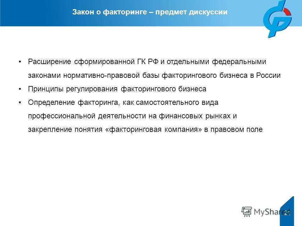 Расширение сформированной ГК РФ и отдельными федеральными законами нормативно-правовой базы факторингового бизнеса в России Принципы регулирования факторингового бизнеса Определение факторинга, как самостоятельного вида профессиональной деятельности
